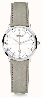 Michel Herbelin | quartzo da cidade | mulheres | pulseira de couro bege | mostrador branco | 16915/12LKN
