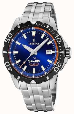 Festina | mens mergulhadores | pulseira de aço inoxidável | mostrador azul | F20461/1