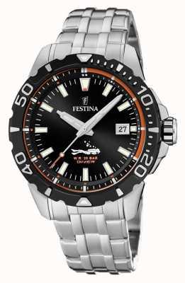 Festina | mens mergulhadores | pulseira de aço inoxidável | mostrador preto | F20461/3