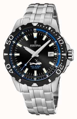 Festina | mens mergulhadores | pulseira de aço inoxidável | mostrador preto / azul | F20461/4