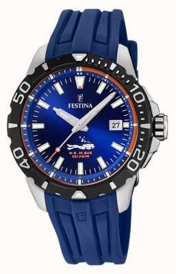 Festina | mens mergulhadores | pulseira de borracha azul | mostrador azul | F20462/1
