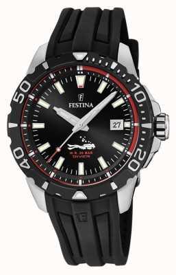 Festina | mens mergulhadores | pulseira de borracha preta | mostrador preto | F20462/2