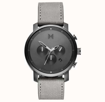 MVMT Chrono 45mm monocromático | pulseira de couro cinza | mostrador cinza D-MC01-BBLGR