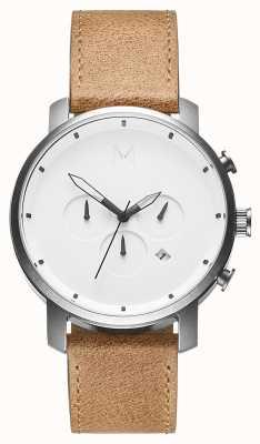 MVMT | caramelo crono branco | pulseira de couro marrom | mostrador branco | D-MC01WT