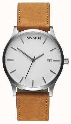 MVMT Bronzeado branco clássico | pulseira de couro marrom | mostrador branco D-L213.1L.331