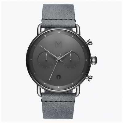 MVMT Névoa de prata asfalto | pulseira de couro cinza | mostrador cinza D-BT01-SGR