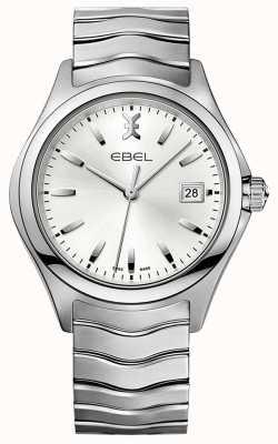 EBEL | onda de mens | pulseira de aço inoxidável | mostrador prateado | 1216200