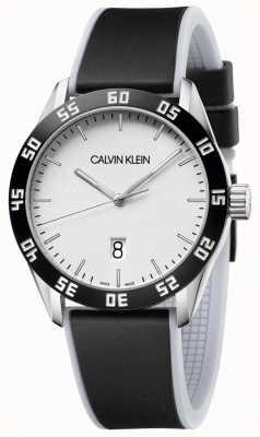 Calvin Klein | mens | competir | pulseira de borracha preta | mostrador prateado | K9R31CD6