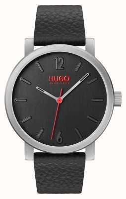 HUGO #rase | pulseira de couro preto | mostrador preto 1530115