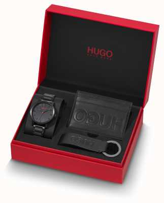 HUGO #rase | giftset | chaveiro | titular do cartão | pulseira ip preta 1570096