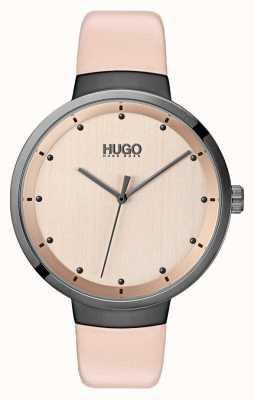 HUGO #go | pulseira de couro rosa | discagem rosa de ouro 1540001