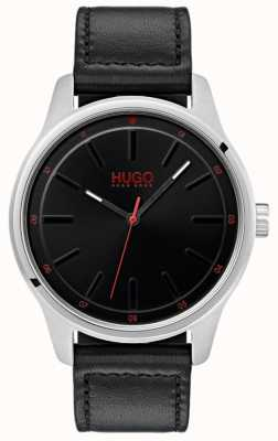 HUGO #dare | pulseira de couro preto | mostrador preto 1530018