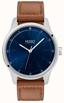 HUGO #dare | pulseira de couro marrom | mostrador azul 1530029