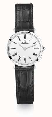 Michel Herbelin | mulheres | épsilon | pulseira de couro preto | mostrador branco | 17106/01N