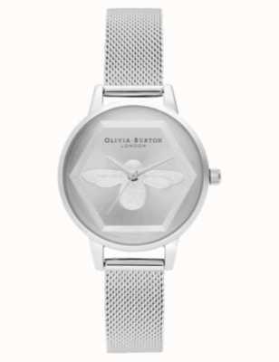 Olivia Burton | Relógio de caridade abelha 3d | pulseira de malha de prata l OB16AM168