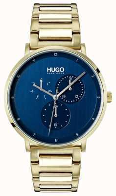 HUGO #guide | pulseira de ouro ip | mostrador azul 1530011