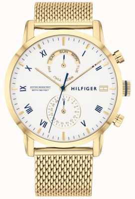 Tommy Hilfiger Kane pulseira de malha ip ouro | mostrador branco | 1710403