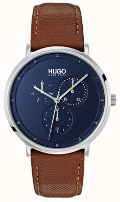 HUGO #guide | pulseira de couro marrom | mostrador azul 1530032