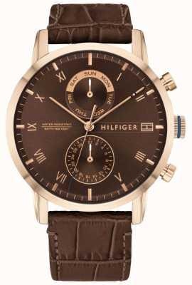 Tommy Hilfiger Kane pulseira de couro marrom | mostrador marrom 1710400