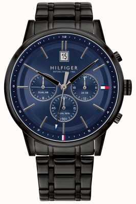 Tommy Hilfiger | pulseira masculina revestida de pvd preto | mostrador azul | 1791633