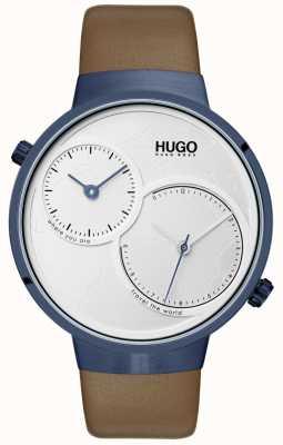 HUGO #travel | pulseira de couro marrom | mostrador branco 1530054