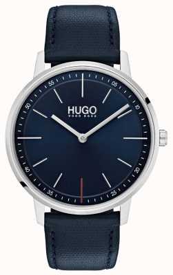 HUGO #exist | pulseira de couro azul | mostrador azul 1520008
