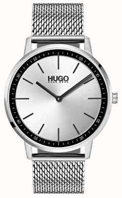 HUGO #exist | malha de aço inoxidável | mostrador prateado 1520010