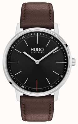 HUGO #exist | pulseira de couro marrom | mostrador preto 1520014