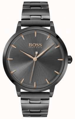 Boss | marina das mulheres | pulseira de chapeamento preto pvd | mostrador preto | 1502503