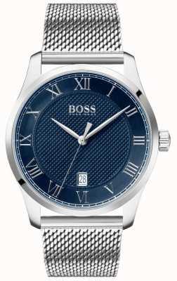 Boss | mestre dos homens | pulseira de malha de aço inoxidável | mostrador azul | 1513737