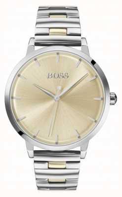 Boss | marina das mulheres | pulseira de aço inoxidável | mostrador de ouro | 1502500