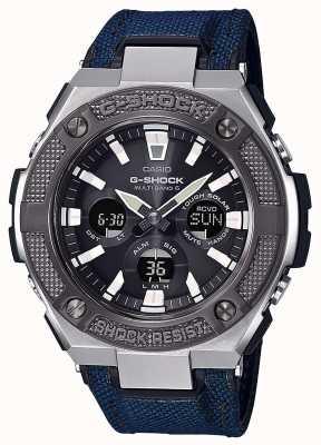 Casio | g-shock | g-aço | cordura azul / pulseira de couro | GST-W330AC-2AER