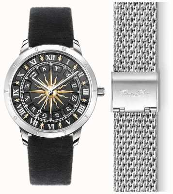 Thomas Sabo | relógio de sol feminino | pulseira de veludo preto | mostrador solar 3d preto SET_WA0351-217-203-33