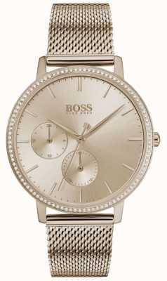 Boss | infinito das mulheres | malha de ouro rosa | discagem sunray de ouro rosa 1502519