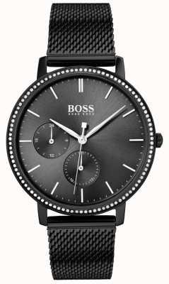 Boss | infinito das mulheres | pulseira de malha preta | discagem sunray preto 1502521