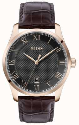 Boss | mestre dos homens | pulseira de couro marrom | mostrador cinza | 1513740