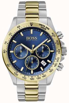 BOSS | herói dos homens esporte lux | pulseira de dois tons | mostrador azul | 1513767