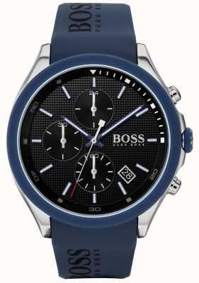 Boss | velocidade dos homens | pulseira de borracha azul | mostrador preto | 1513717