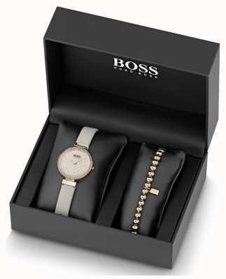 Boss Conjunto de relógio e pulseira de couro feminino em cristal 1570094
