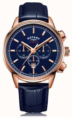 Rotary | cronógrafo cambridge masculino | mostrador azul | couro azul | GS05399/05