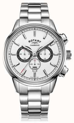 Rotary | cronógrafo cambridge masculino | mostrador branco | aço inoxidável GB05395/02