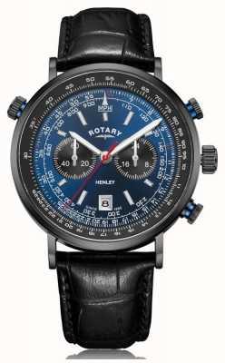 Rotary | cronógrafo de henley para homem | mostrador azul | pulseira de couro preto GS05238/05