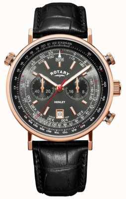 Rotary | cronógrafo de henley para homem | mostrador cinza | couro preto | GS05237/20