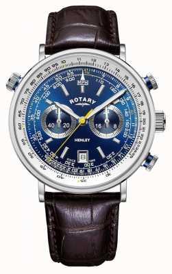 Rotary | cronógrafo de henley para homem | mostrador azul | pulseira de couro marrom GS05235/05