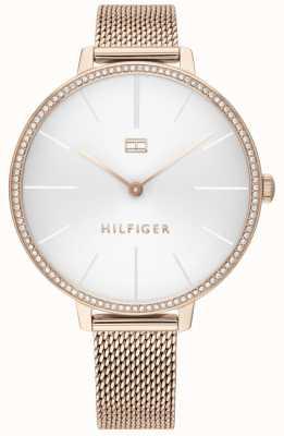 Tommy Hilfiger | Kelly para mulher | pulseira de malha de ouro rosa | mostrador branco | 1782115