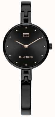 Tommy Hilfiger | kit de senhora | pulseira de aço inoxidável preto | mostrador preto 1782136