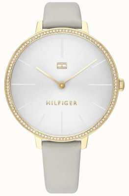 Tommy Hilfiger | kelly das mulheres | pulseira de couro cinza | mostrador cinza / branco | 1782110