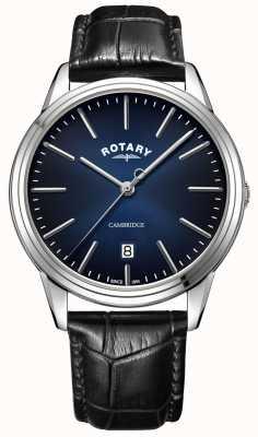 Rotary | cambridge dos homens | mostrador azul | pulseira de couro preto | GS05390/05