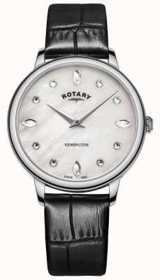 Rotary | kensington para mulher | mostrador em cristal swarovski | couro preto LS05170/41