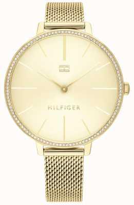Tommy Hilfiger | Kelly para mulher | pulseira de malha de ouro | mostrador de ouro | 1782114